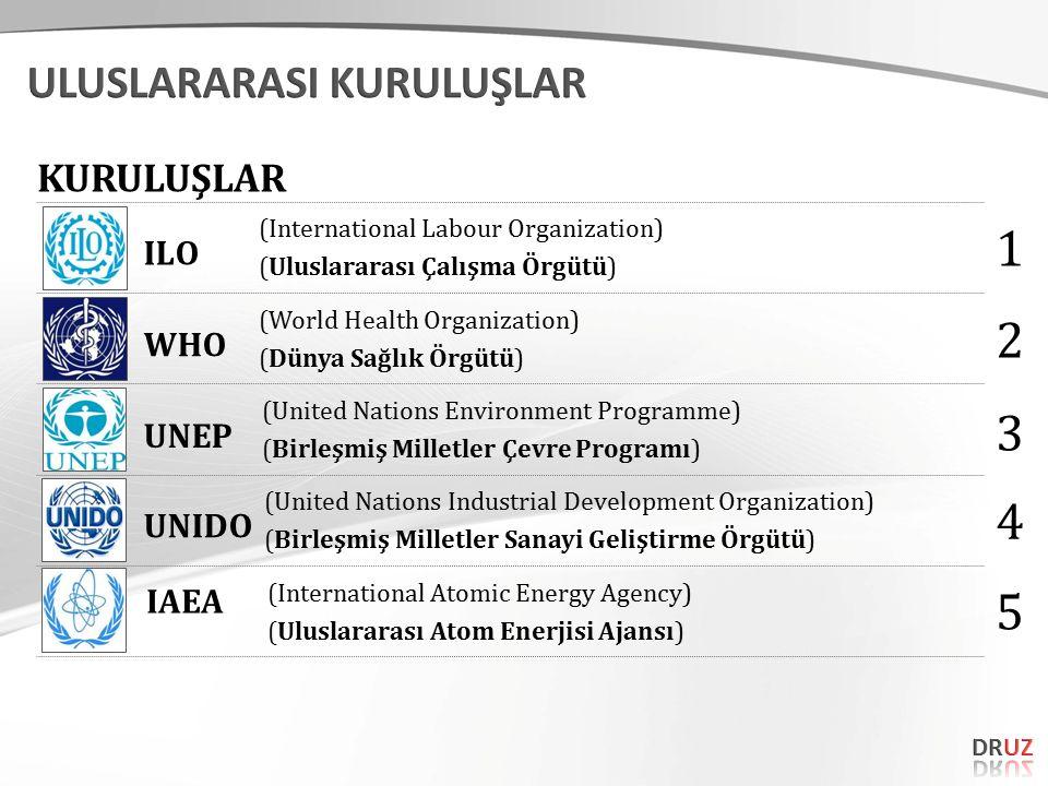 (International Labour Organization) (Uluslararası Çalışma Örgütü) (World Health Organization) (Dünya Sağlık Örgütü) (United Nations Environment Programme) (Birleşmiş Milletler Çevre Programı) (United Nations Industrial Development Organization) (Birleşmiş Milletler Sanayi Geliştirme Örgütü) (International Atomic Energy Agency) (Uluslararası Atom Enerjisi Ajansı) ILO WHO UNEP UNIDO IAEA KURULUŞLAR 1 2 3 4 5
