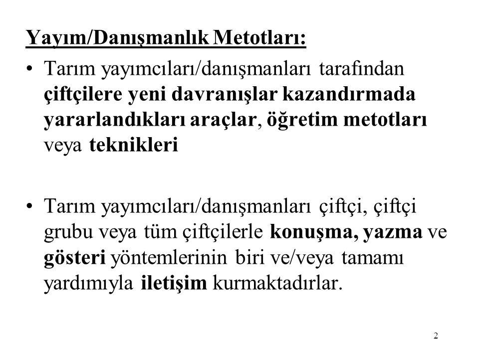 3 YAYIM/DANIŞMANLIK METOTLARI 1.