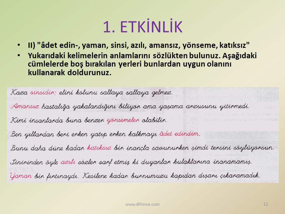 1. ETKİNLİK II)