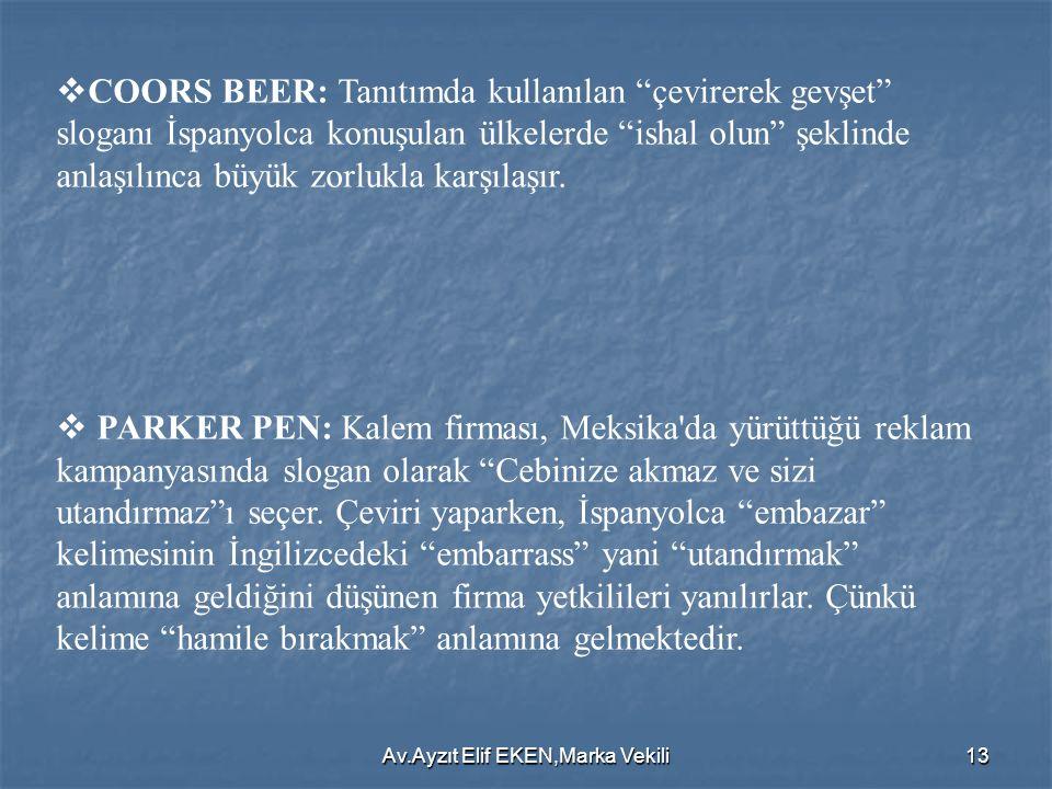 """Av.Ayzıt Elif EKEN,Marka Vekili13  COORS BEER: Tanıtımda kullanılan """"çevirerek gevşet"""" sloganı İspanyolca konuşulan ülkelerde """"ishal olun"""" şeklinde a"""