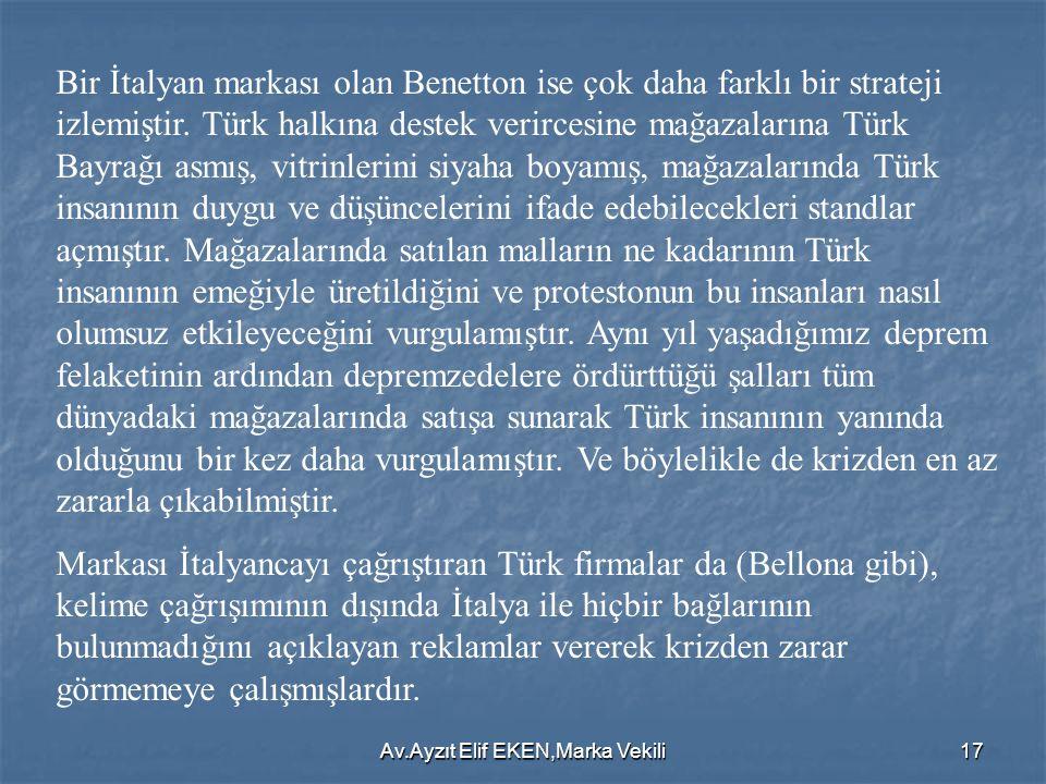 Av.Ayzıt Elif EKEN,Marka Vekili17 Bir İtalyan markası olan Benetton ise çok daha farklı bir strateji izlemiştir. Türk halkına destek verircesine mağaz