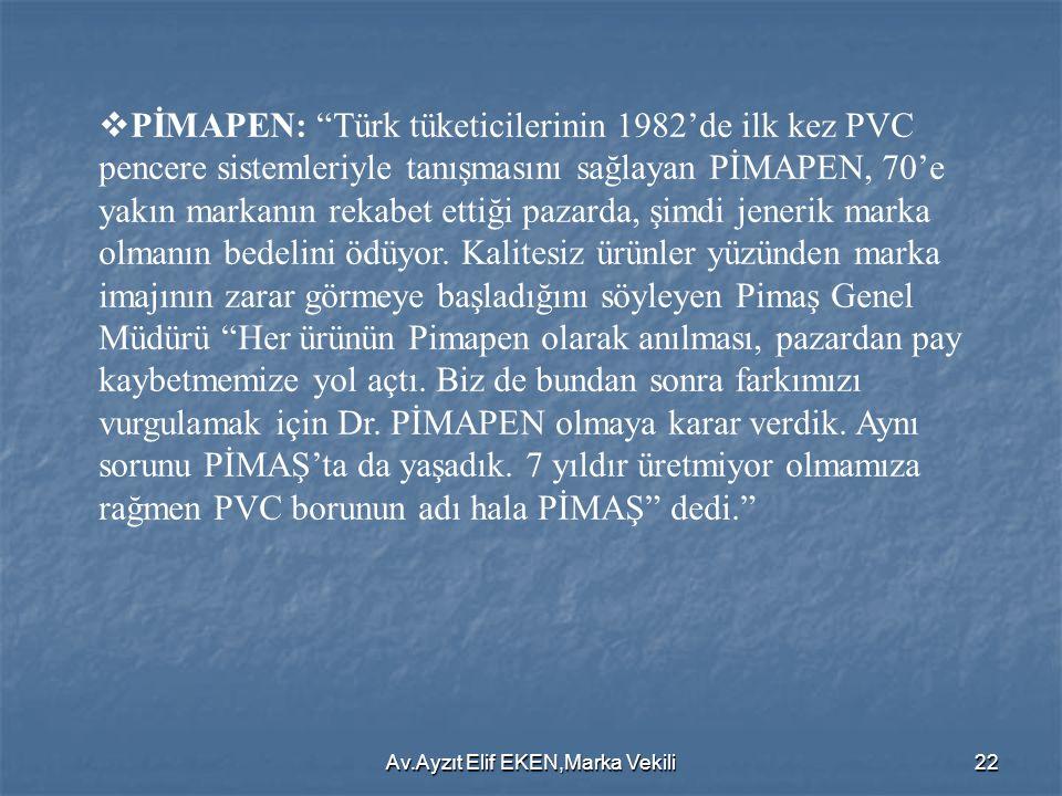 """Av.Ayzıt Elif EKEN,Marka Vekili22  PİMAPEN: """"Türk tüketicilerinin 1982'de ilk kez PVC pencere sistemleriyle tanışmasını sağlayan PİMAPEN, 70'e yakın"""