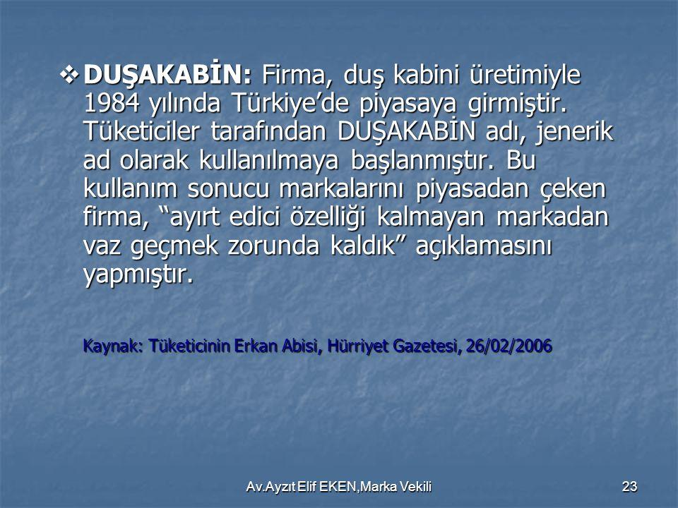 Av.Ayzıt Elif EKEN,Marka Vekili23  DUŞAKABİN: Firma, duş kabini üretimiyle 1984 yılında Türkiye'de piyasaya girmiştir. Tüketiciler tarafından DUŞAKAB