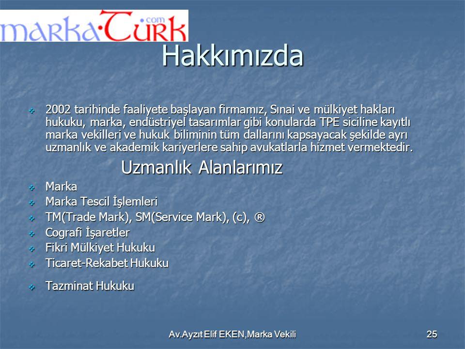 Av.Ayzıt Elif EKEN,Marka Vekili25 Hakkımızda  2002 tarihinde faaliyete başlayan firmamız, Sınai ve mülkiyet hakları hukuku, marka, endüstriyel tasarı