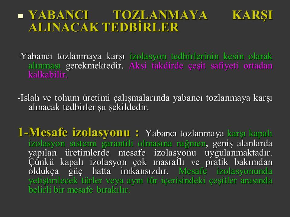 YABANCI TOZLANMAYA KARŞI ALINACAK TEDBİRLER YABANCI TOZLANMAYA KARŞI ALINACAK TEDBİRLER -Yabancı tozlanmaya karşı izolasyon tedbirlerinin kesin olarak alınması gerekmektedir.