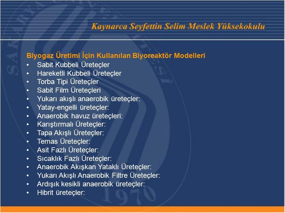 Biyogaz Üretimi İçin Kullanılan Biyoreaktör Modelleri Sabit Kubbeli Üreteçler Hareketli Kubbeli Üreteçler Torba Tipi Üreteçler Sabit Film Üreteçleri Y