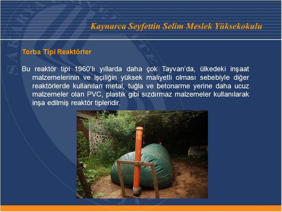 Torba Tipi Reaktörler Bu reaktör tipi 1960'lı yıllarda daha çok Tayvan'da, ülkedeki inşaat malzemelerinin ve işçiliğin yüksek maliyetli olması sebebiyle diğer reaktörlerde kullanılan metal, tuğla ve betonarme yerine daha ucuz malzemeler olan PVC, plastik gibi sızdırmaz malzemeler kullanılarak inşa edilmiş reaktör tipleridir.