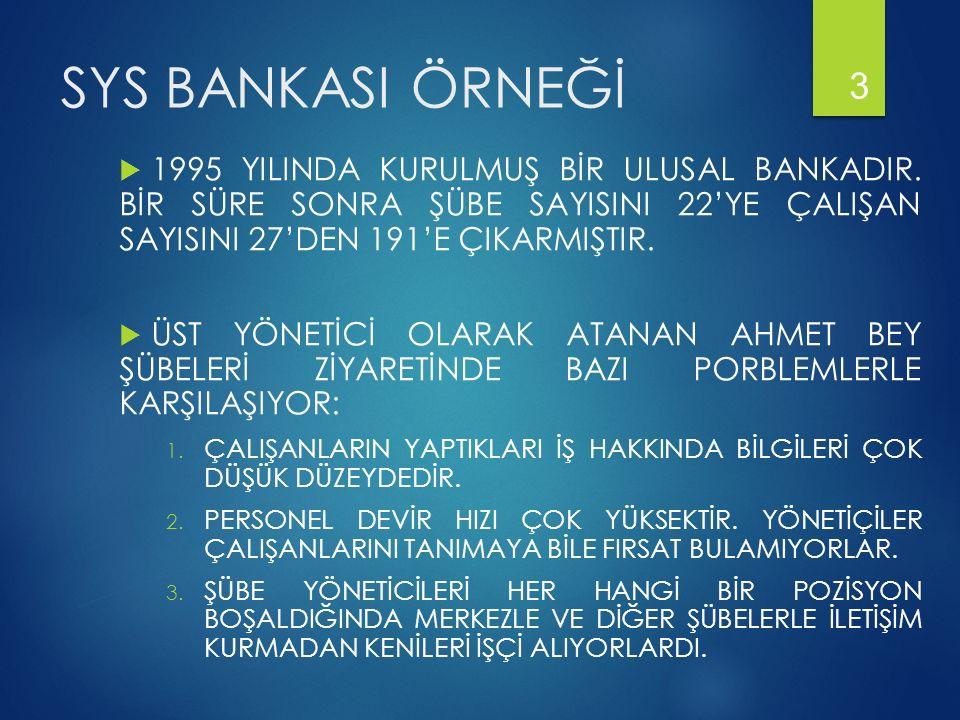 SYS BANKASI ÖRNEĞİ  1995 YILINDA KURULMUŞ BİR ULUSAL BANKADIR. BİR SÜRE SONRA ŞÜBE SAYISINI 22'YE ÇALIŞAN SAYISINI 27'DEN 191'E ÇIKARMIŞTIR.  ÜST YÖ