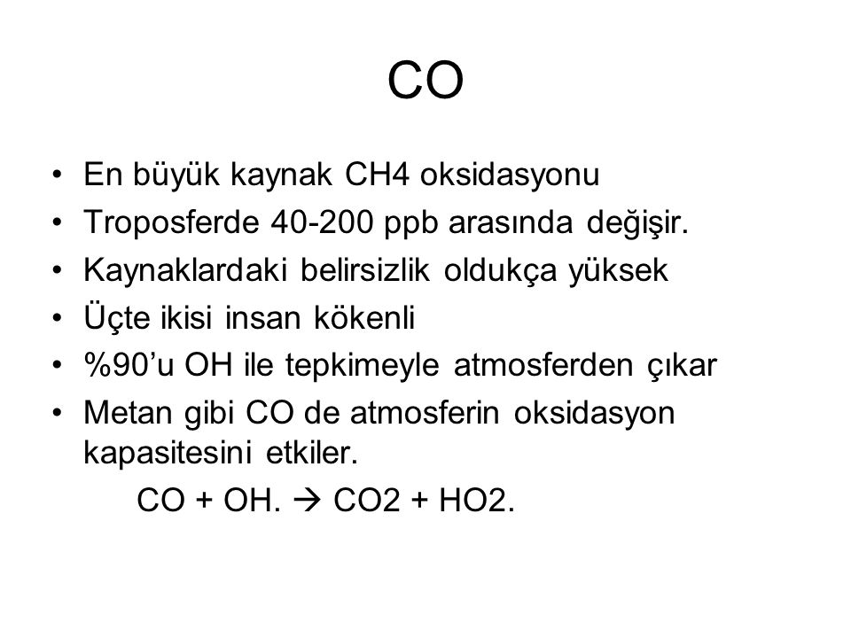CO En büyük kaynak CH4 oksidasyonu Troposferde 40-200 ppb arasında değişir.