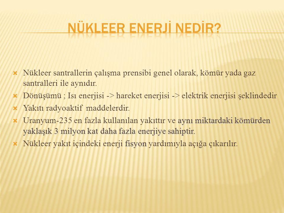  Nükleer santrallerin çalışma prensibi genel olarak, kömür yada gaz santralleri ile aynıdır.  Dönüşümü ; Isı enerjisi -> hareket enerjisi -> elektri