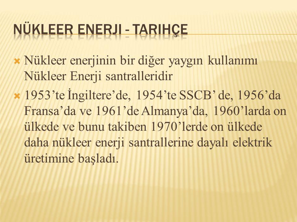  1962 de İstanbul da Küçükçekmece gölü kıyısında kurulan 1 MW LİK TR-1 araştırma reaktörüyle araştırmalara Türkiye de de başlandı.