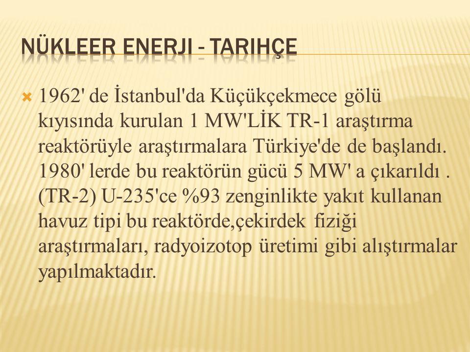  1962' de İstanbul'da Küçükçekmece gölü kıyısında kurulan 1 MW'LİK TR-1 araştırma reaktörüyle araştırmalara Türkiye'de de başlandı. 1980' lerde bu re
