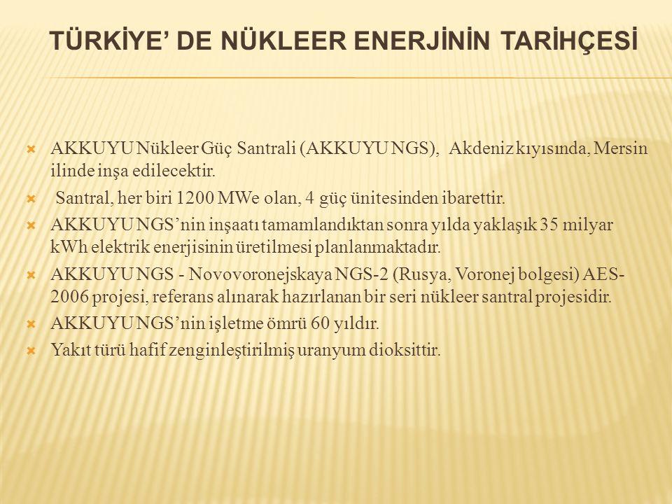  AKKUYU Nükleer Güç Santrali (AKKUYU NGS), Akdeniz kıyısında, Mersin ilinde inşa edilecektir.  Santral, her biri 1200 MWe olan, 4 güç ünitesinden ib