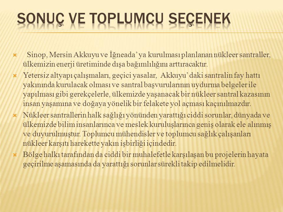  Sinop, Mersin Akkuyu ve İğneada' ya kurulması planlanan nükleer santraller, ülkemizin enerji üretiminde dışa bağımlılığını arttıracaktır.  Yetersiz