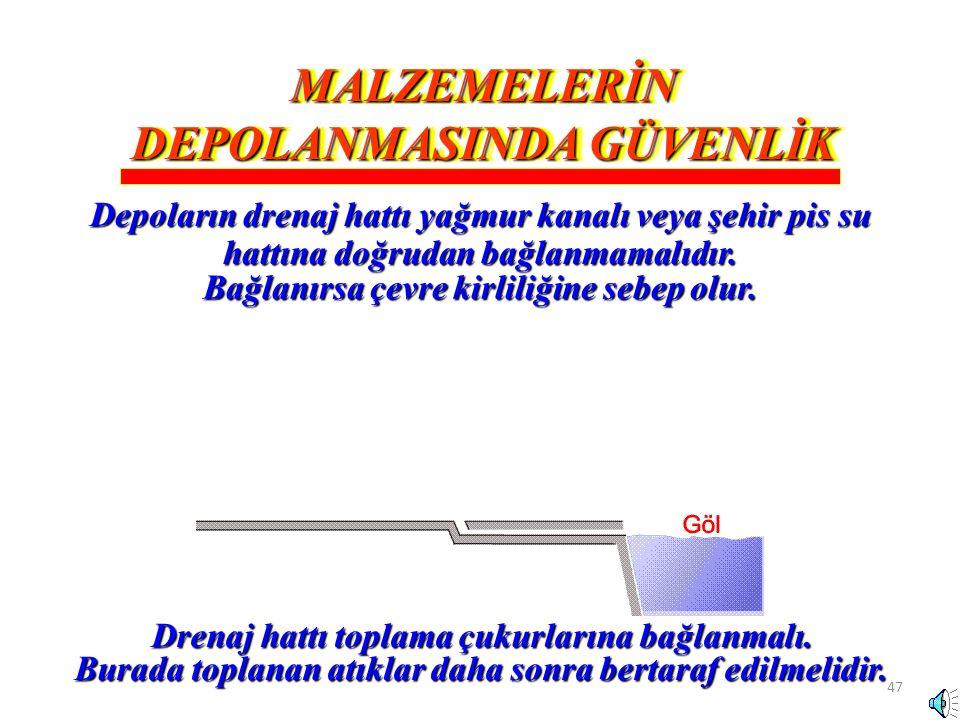 47 Drenaj hattı toplama çukurlarına bağlanmalı. Burada toplanan atıklar daha sonra bertaraf edilmelidir. MALZEMELERİN DEPOLANMASINDA GÜVENLİK Depoları