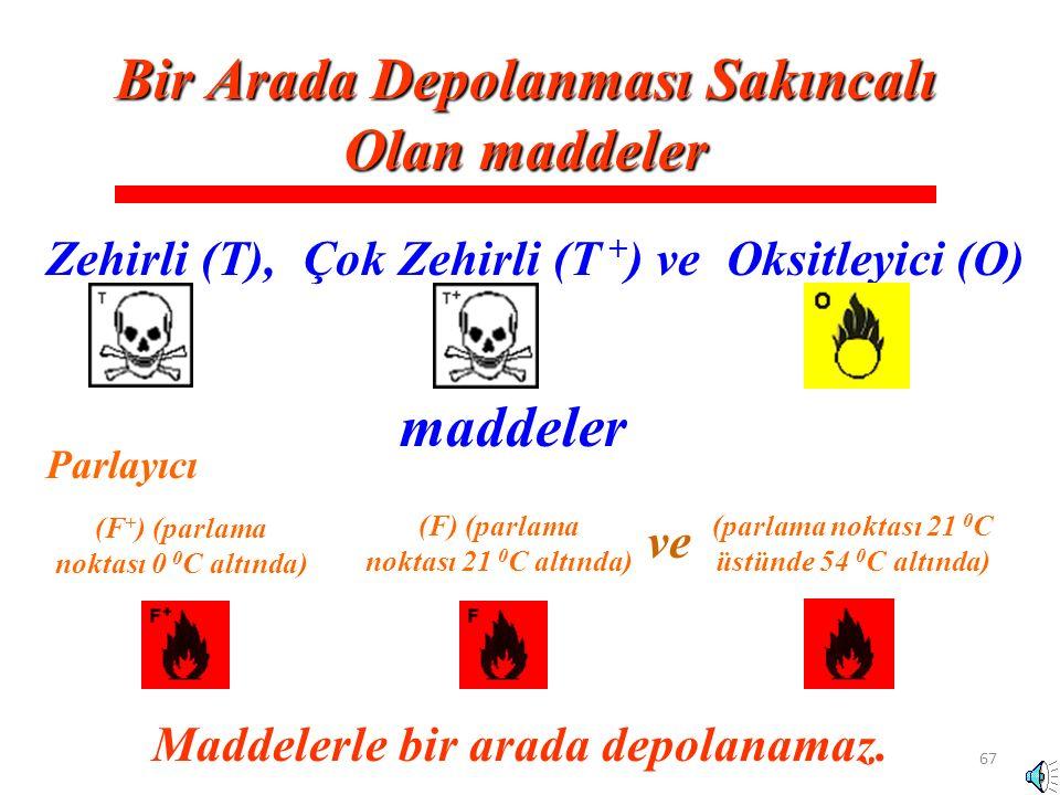 67 Zehirli (T), Bir Arada Depolanması Sakıncalı Olan maddeler Çok Zehirli (T + )ve maddeler Oksitleyici (O) Maddelerle bir arada depolanamaz. (F + ) (