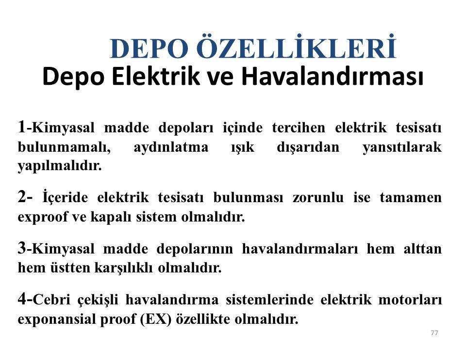 Depo Elektrik ve Havalandırması 77 1 -Kimyasal madde depoları içinde tercihen elektrik tesisatı bulunmamalı, aydınlatma ışık dışarıdan yansıtılarak ya