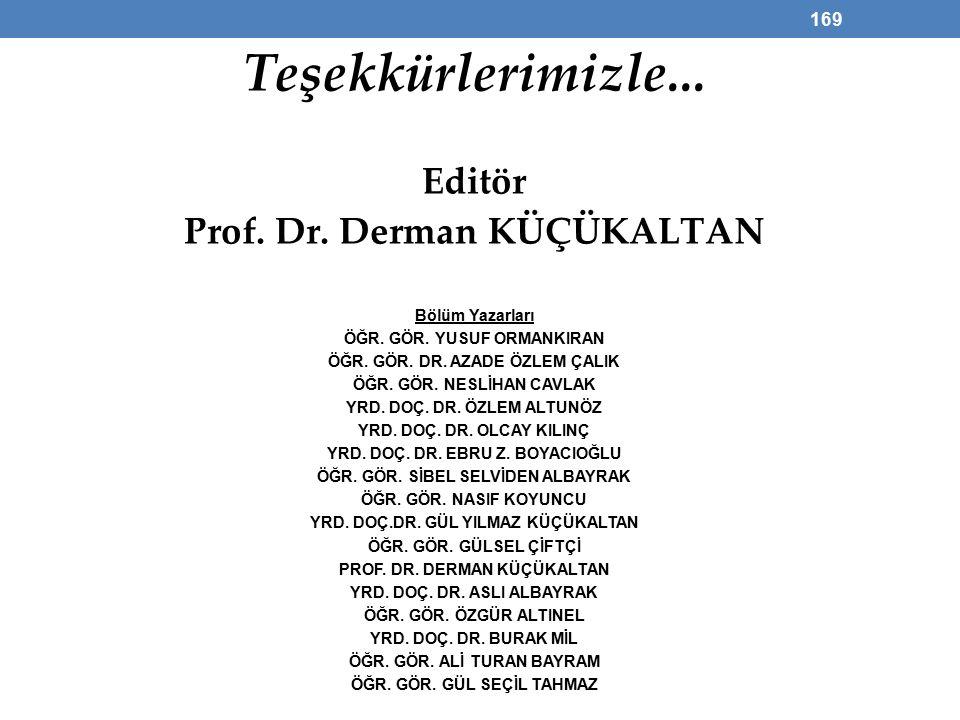 Teşekkürlerimizle... Editör Prof. Dr. Derman KÜÇÜKALTAN Bölüm Yazarları ÖĞR.
