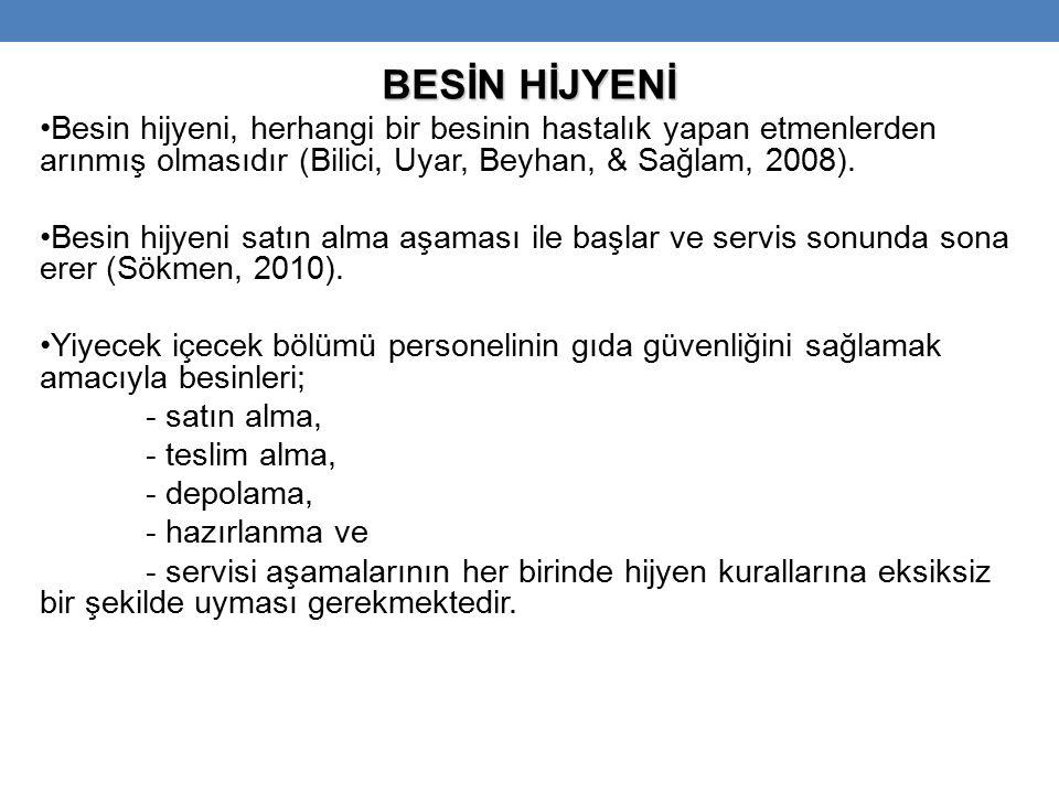 BESİN HİJYENİ Besin hijyeni, herhangi bir besinin hastalık yapan etmenlerden arınmış olmasıdır (Bilici, Uyar, Beyhan, & Sağlam, 2008).