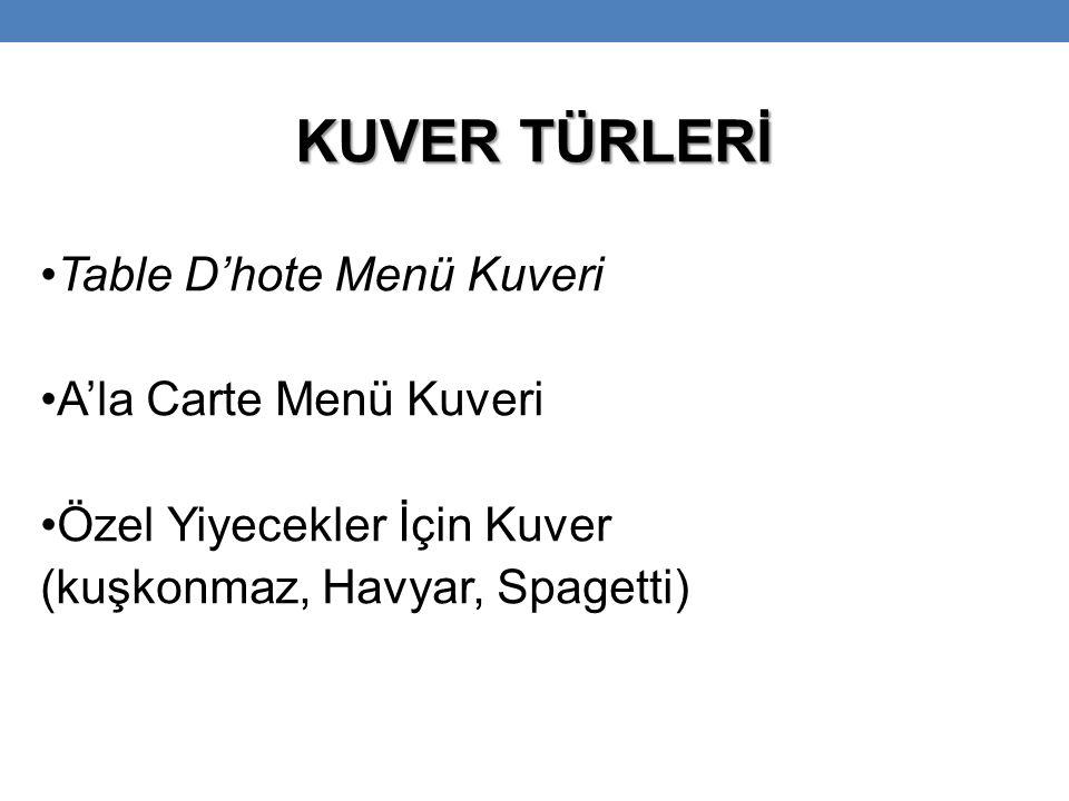 KUVER TÜRLERİ Table D'hote Menü Kuveri A'la Carte Menü Kuveri Özel Yiyecekler İçin Kuver (kuşkonmaz, Havyar, Spagetti)