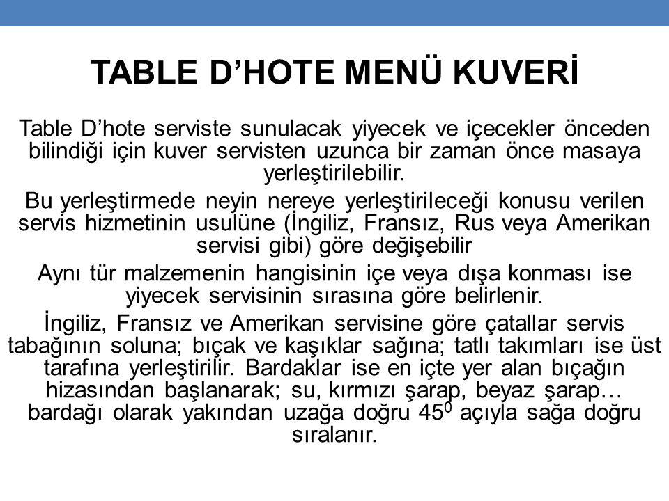TABLE D'HOTE MENÜ KUVERİ Table D'hote serviste sunulacak yiyecek ve içecekler önceden bilindiği için kuver servisten uzunca bir zaman önce masaya yerleştirilebilir.