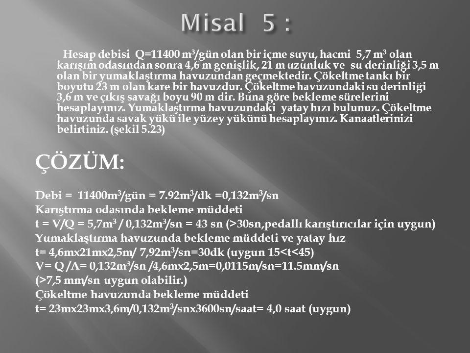 Şekil 5.23.1.Misale Ait Sistemin Plan ve Kesiti Savak Yükü = Q/L savak = 11400m 3 /gün/90m=127m 3 /m.gün (<250 uygun) S o = Q/A=11400m 3 /gün/23mx23m=21,6 m 3 /m 2.gün =0,9 m/saat (uygun) Sistemin plan ve kesiti şekil 5.23 de gösterilmiştir.