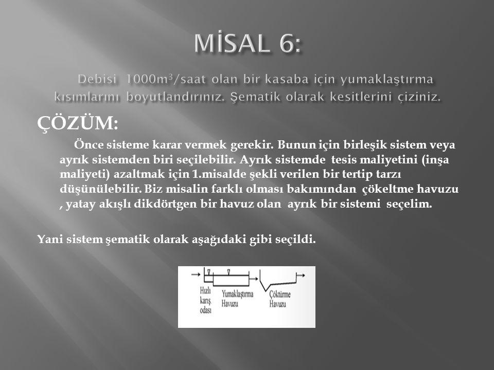 Q 1 =1000/2=500m 3 /saat Q M =1000/3=333m 3 /st.