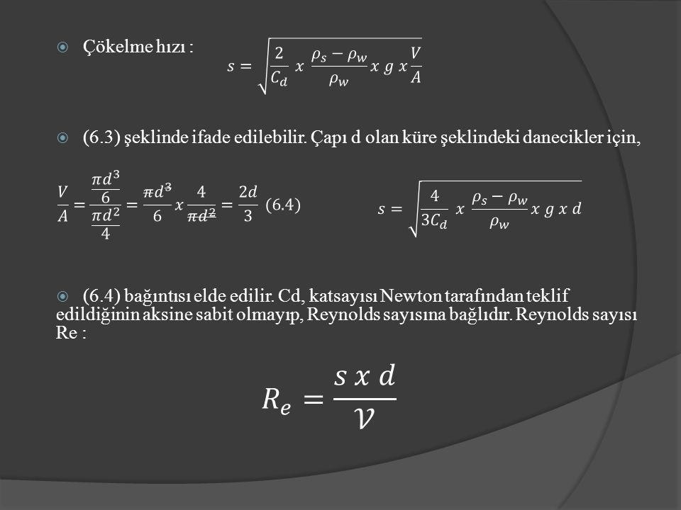  Çökelme hızı :  (6.3) şeklinde ifade edilebilir.