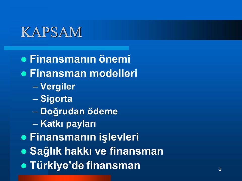 2 KAPSAM Finansmanın önemi Finansman modelleri –Vergiler –Sigorta –Doğrudan ödeme –Katkı payları Finansmanın işlevleri Sağlık hakkı ve finansman Türki