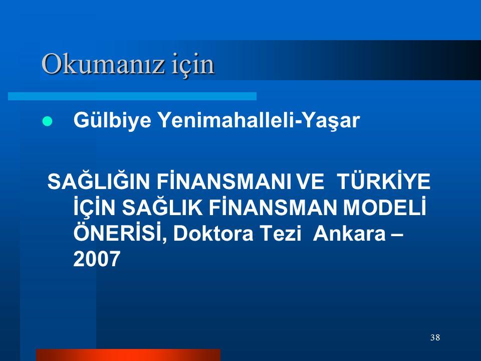 38 Okumanız için Gülbiye Yenimahalleli-Yaşar SAĞLIĞIN FİNANSMANI VE TÜRKİYE İÇİN SAĞLIK FİNANSMAN MODELİ ÖNERİSİ, Doktora Tezi Ankara – 2007