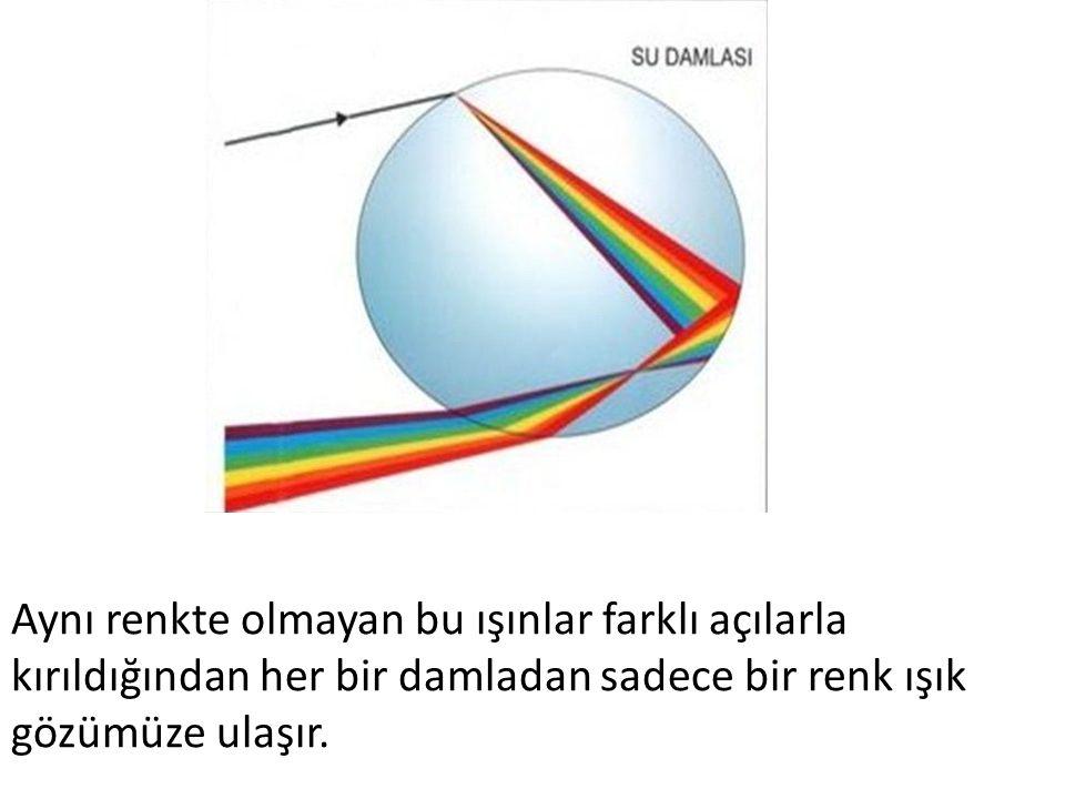 Aynı renkte olmayan bu ışınlar farklı açılarla kırıldığından her bir damladan sadece bir renk ışık gözümüze ulaşır.