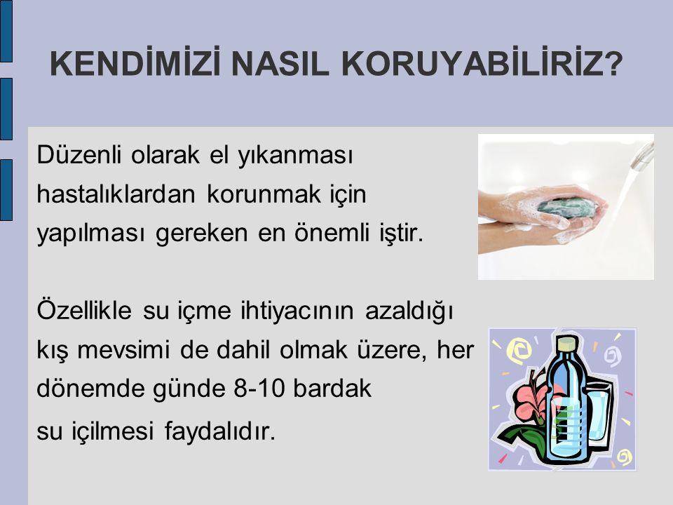 Düzenli olarak el yıkanması hastalıklardan korunmak için yapılması gereken en önemli iştir. Özellikle su içme ihtiyacının azaldığı kış mevsimi de dahi