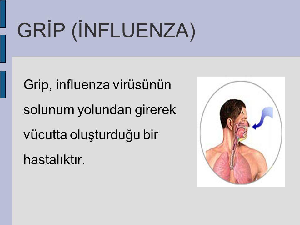 GRİP (İNFLUENZA) Grip, influenza virüsünün solunum yolundan girerek vücutta oluşturduğu bir hastalıktır.
