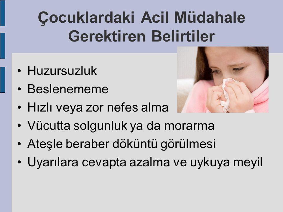 Çocuklardaki Acil Müdahale Gerektiren Belirtiler Huzursuzluk Beslenememe Hızlı veya zor nefes alma Vücutta solgunluk ya da morarma Ateşle beraber dökü