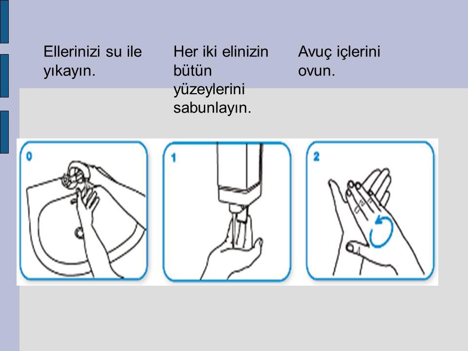 Ellerinizi su ile yıkayın. Her iki elinizin bütün yüzeylerini sabunlayın. Avuç içlerini ovun.