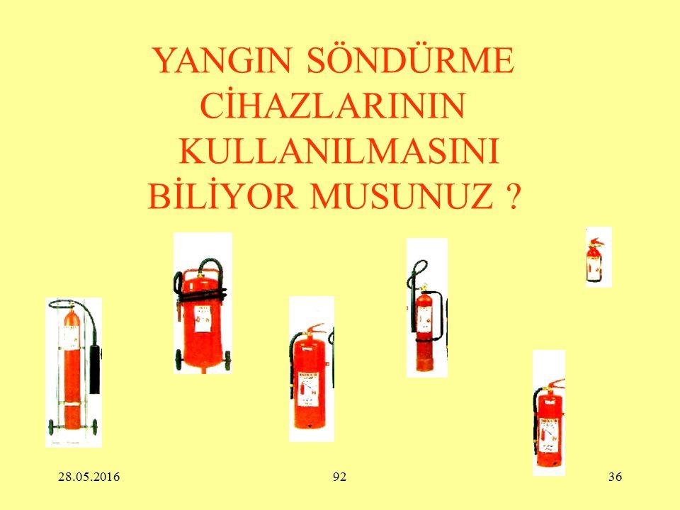 28.05.201692 35 YANGININ SÖNDÜRÜLMESİ İLE İLGİLİ ÖNLEMLER  Yangın Söndürme Cihazları Yangın Söndürme Cihazlarının Seçim Esasları Kullanılacak olan al