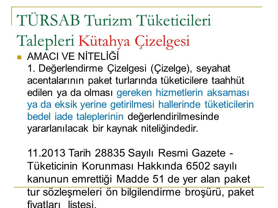 TÜRSAB Turizm Tüketicileri Talepleri Kütahya Çizelgesi AMACI VE NİTELİĞİ 1. Değerlendirme Çizelgesi (Çizelge), seyahat acentalarının paket turlarında
