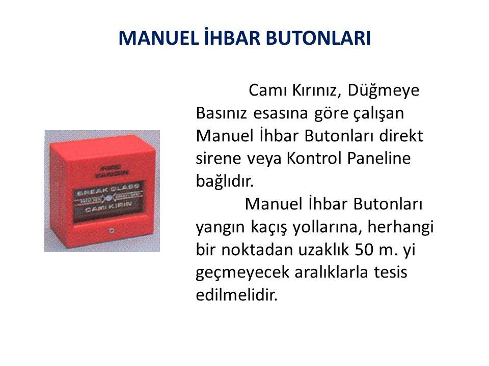 MANUEL İHBAR BUTONLARI Camı Kırınız, Düğmeye Basınız esasına göre çalışan Manuel İhbar Butonları direkt sirene veya Kontrol Paneline bağlıdır.