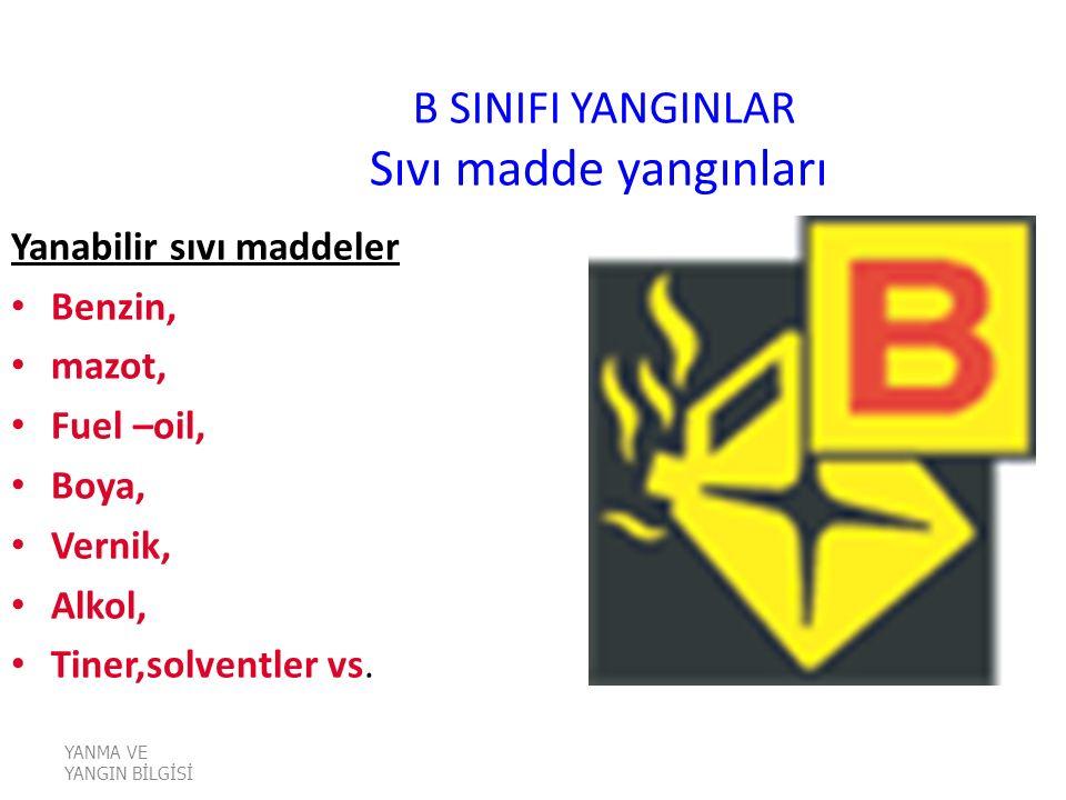 B SINIFI YANGINLAR Sıvı madde yangınları Yanabilir sıvı maddeler Benzin, mazot, Fuel –oil, Boya, Vernik, Alkol, Tiner,solventler vs.