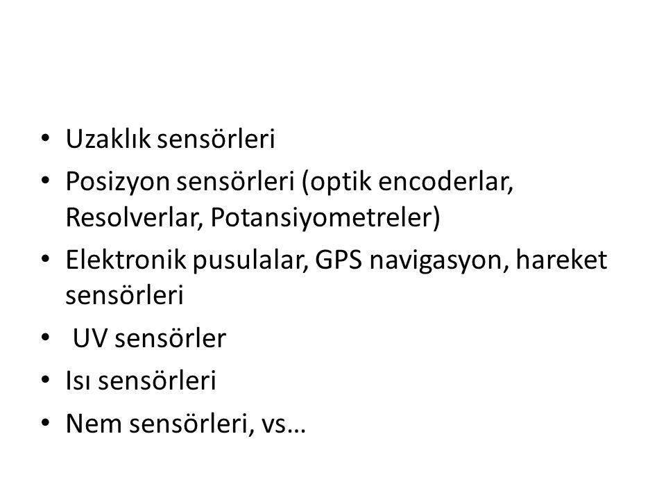 Uzaklık sensörleri Posizyon sensörleri (optik encoderlar, Resolverlar, Potansiyometreler) Elektronik pusulalar, GPS navigasyon, hareket sensörleri UV sensörler Isı sensörleri Nem sensörleri, vs…