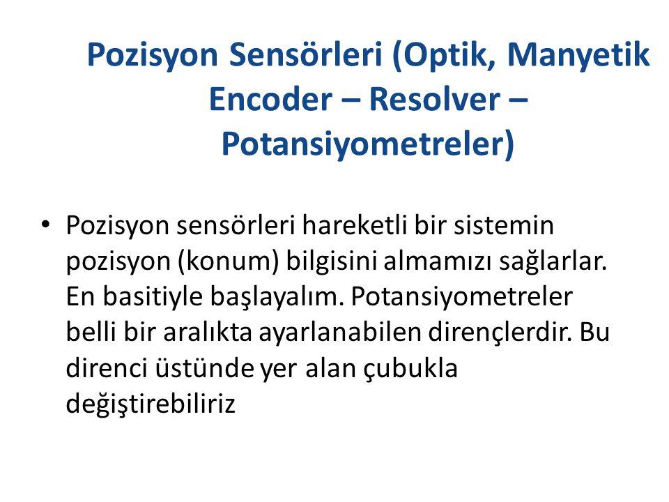 Pozisyon Sensörleri (Optik, Manyetik Encoder – Resolver – Potansiyometreler) Pozisyon sensörleri hareketli bir sistemin pozisyon (konum) bilgisini alm