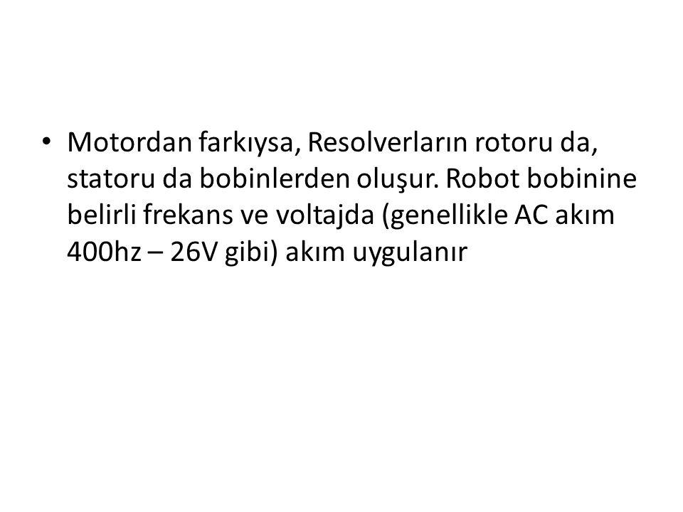 Motordan farkıysa, Resolverların rotoru da, statoru da bobinlerden oluşur. Robot bobinine belirli frekans ve voltajda (genellikle AC akım 400hz – 26V