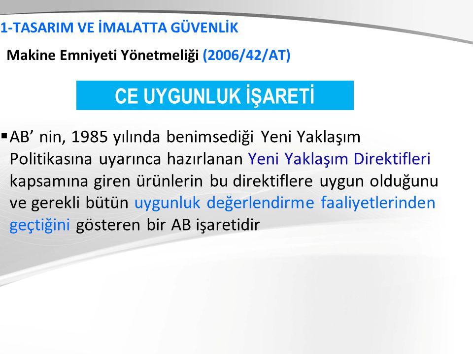 1-TASARIM VE İMALATTA GÜVENLİK Makine Emniyeti Yönetmeliği (2006/42/AT)  AB' nin, 1985 yılında benimsediği Yeni Yaklaşım Politikasına uyarınca hazırl