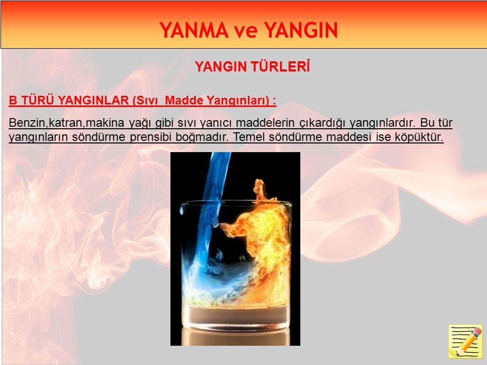 YANMA ve YANGIN B TÜRÜ YANGINLAR (Sıvı Madde Yangınları) : Benzin,katran,makina yağı gibi sıvı yanıcı maddelerin çıkardığı yangınlardır.