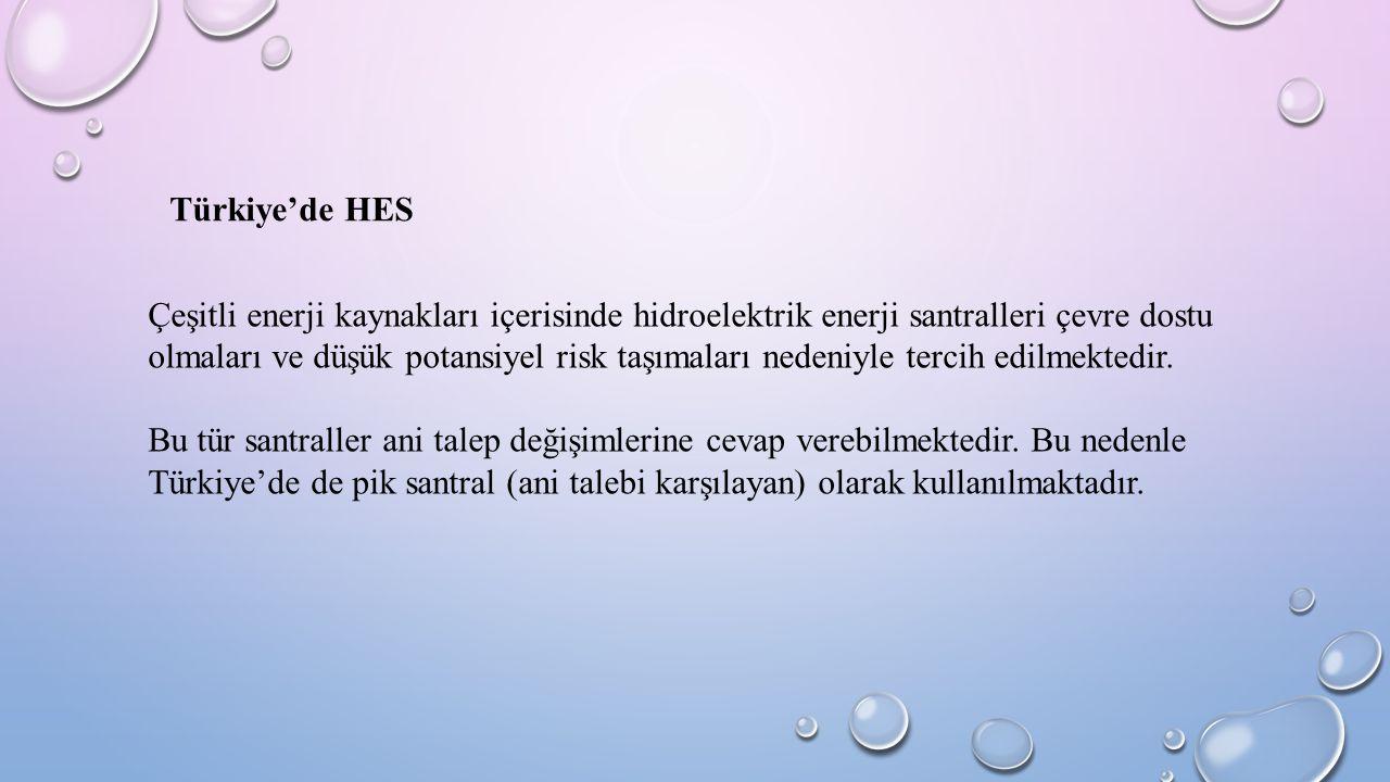 Türkiye'de HES Çeşitli enerji kaynakları içerisinde hidroelektrik enerji santralleri çevre dostu olmaları ve düşük potansiyel risk taşımaları nedeniyl