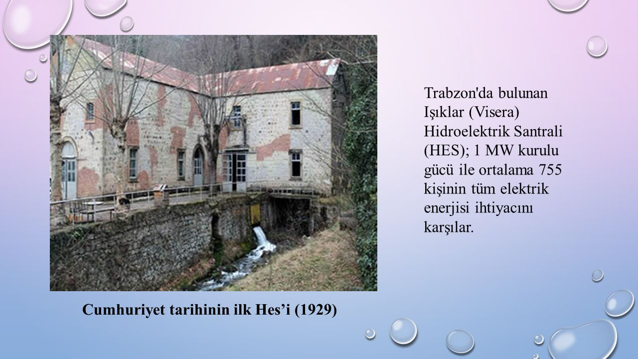 Trabzon'da bulunan Işıklar (Visera) Hidroelektrik Santrali (HES); 1 MW kurulu gücü ile ortalama 755 kişinin tüm elektrik enerjisi ihtiyacını karşılar.