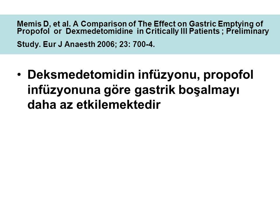 Deksmedetomidin infüzyonu, propofol infüzyonuna göre gastrik boşalmayı daha az etkilemektedir Memis D, et al. A Comparison of The Effect on Gastric Em