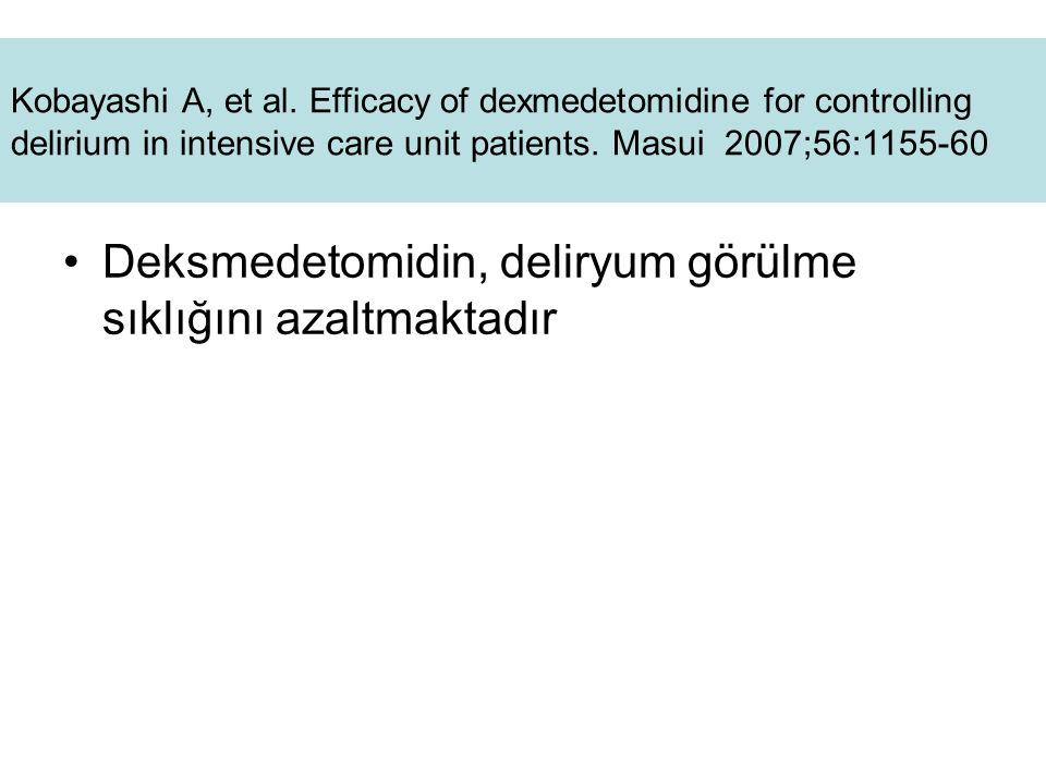 . Deksmedetomidin, deliryum görülme sıklığını azaltmaktadır Kobayashi A, et al. Efficacy of dexmedetomidine for controlling delirium in intensive care