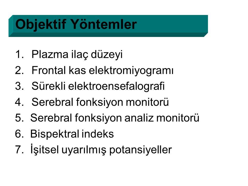 1.Plazma ilaç düzeyi 2.Frontal kas elektromiyogramı 3.Sürekli elektroensefalografi 4.Serebral fonksiyon monitorü 5. Serebral fonksiyon analiz monitorü