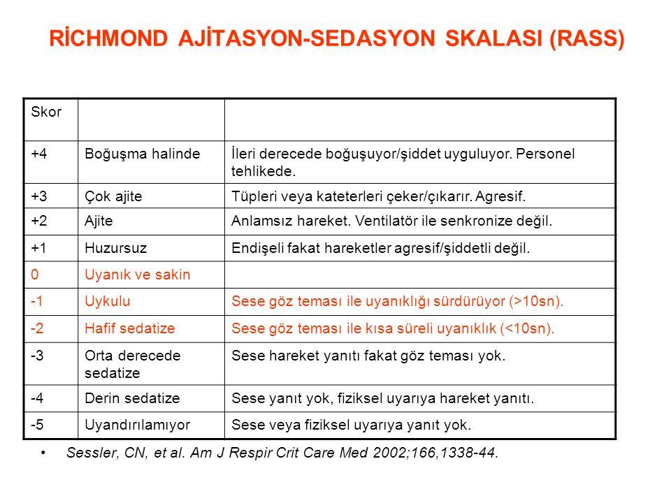 RİCHMOND AJİTASYON-SEDASYON SKALASI (RASS) Sessler, CN, et al. Am J Respir Crit Care Med 2002;166,1338-44. Skor +4Boğuşma halindeİleri derecede boğuşu